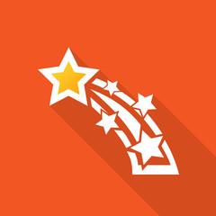 Sternschnuppe Icon mit langem Schatten auf orangenem Hintergrund
