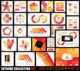 Extreme Collection of 25 quality Infographics background