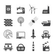 Silhouette Business and industry icons- vector icon set