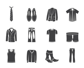 Silhouette man fashion and clothes icons - vector icon set