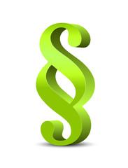 Hellgrünes Paragraphenzeichen in 3D