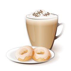 isolated cup of cappuccino with donuts