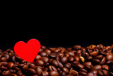 Coffe beans with red heart