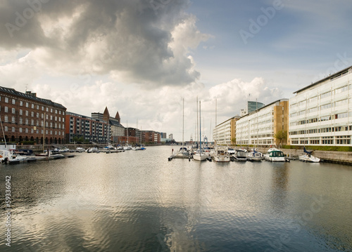 Cityscape of Copenhagen with water