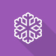 Snowflake icon with long shadow on violet background