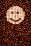Smiley face made of coffee