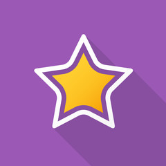 Star icon with long shadow on violet background