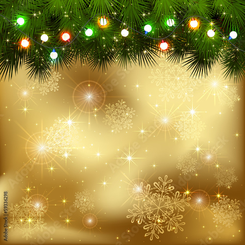 Christmas garland on golden background