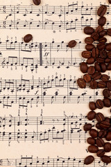 Musical background with coffee beans
