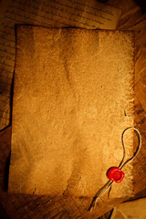 Empty parchment with wax seal stamp