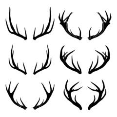 vector deer antler silhouettes