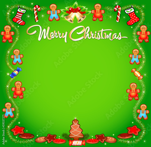background Christmas with cakes sweets and tinsel