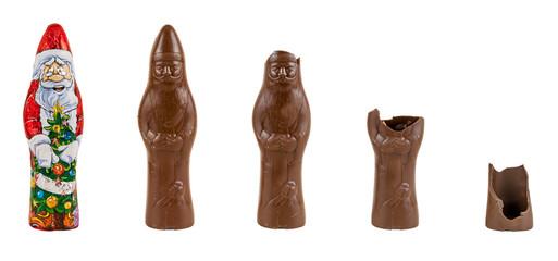 Chocolate figure of santa Claus being eaten