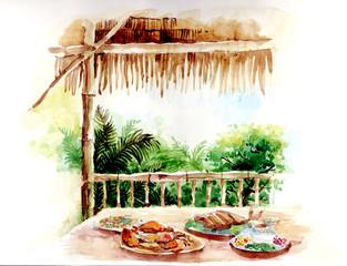 thai food painting