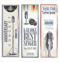 Karaoke party banner, set