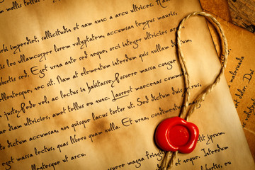 Closeup of ancient letter with wax seal