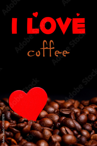 Coffe beans with heart