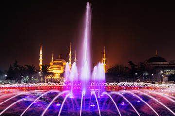 Istanbul by night with colorful fountain