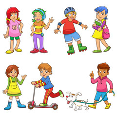 set of happy cartoon kids