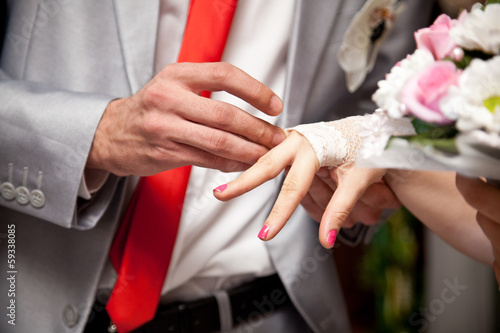 Closeup photo of groom putting wedding ring on brides finger