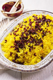 zereshk polo - persian saffron rice with berberis