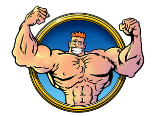 funny cartoon Bodybuilder
