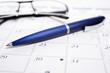 Kalender, Kugelschreiber & Brille