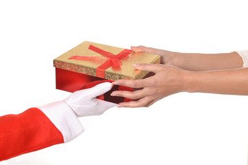 Santa Claus giving Christmas Present to Woman