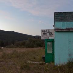 Cafe motel ruin structure front door wide open