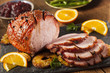 Leinwandbild Motiv Traditional Sliced Honey Glazed Ham