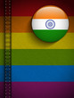 Gay Flag Button on Jeans Fabric Texture India