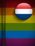 Gay Flag Button on Jeans Fabric Texture Netherlands