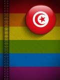 Gay Flag Button on Jeans Fabric Texture Tunisia