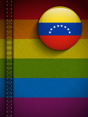 Gay Flag Button on Jeans Fabric Texture Venezuela