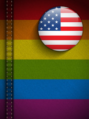 Gay Flag Button on Jeans Fabric Texture Afghanistan