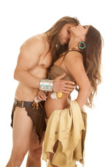 couple woman indian man loincloth hand back