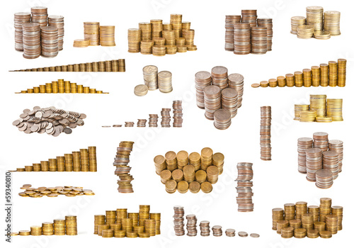 Set different coins on white background