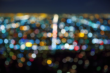 Los Angeles cityscape at night bokeh blur background