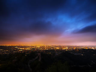 Los Angeles city panorama at night