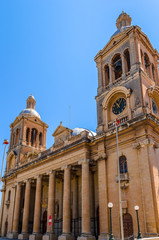 Facade of the Paola parish church, largest in maltese islands