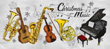 Fototapety Christmas Music Instruments Painting