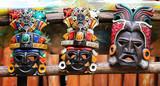 Mayan Colorful Wooden Masks