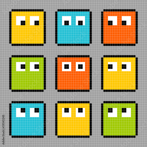 8-bit pixel block characters looking in different directions