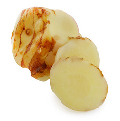 Galangal oil in isolated white background.