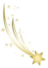 Christmas Star isolated on white paper background