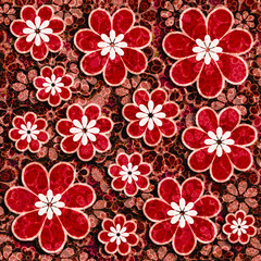 Red Flowers Scrapbook Paper