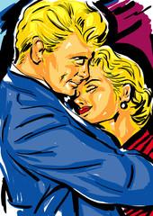 croquis couleur couple homme et femme amour, tendresse