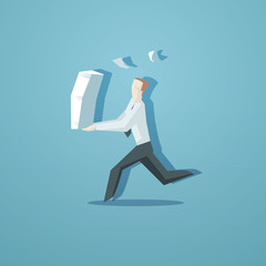 Business concept - clerk running with documents