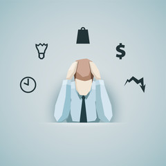Business concept - Businessman in stress vector