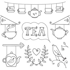 Tea card. Set of elements for design.